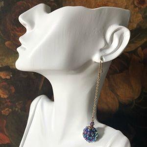 Vintage Sadie Green Crystal Shamballa Earrings